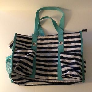 Thirty-one zip top utility tote, navy/white stripe
